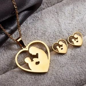 Gold Mother and Child Necklace and Earring Set